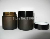 High quality 50g Dark Brown Frosted Glass Bottle Eye Cream Jar Makeup Jar Black Aluminum Cap Inner Cap Wholesale