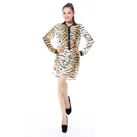 506 Sexy Sheer Leopard Chiffon Long Sleeves Waist Stretchy Asymmetrical Hem Dress for Women