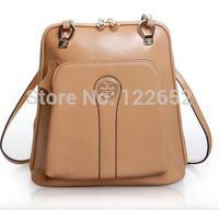 2014 popular South Korea genuine leather college backpack female fashional school bag free shipping B-144