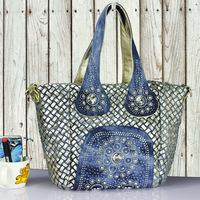 Fashion women's handbag denim knitted bags big rhinestone fashion elegant women's shoulder bags