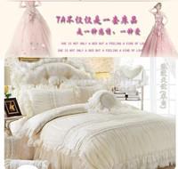 Luxury Lace Flower princess comforter/duvet cover queen king 4pcs pure color bedspread bed skirts bedclothes bedding set cotton
