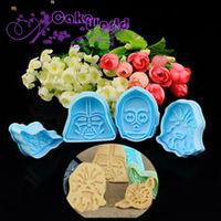4pcs 3D Stamp  Set Fondant cake Sugarcraft Cookie Cutter biscuit mold decorating cooking tools DIY