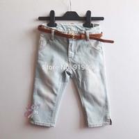 5pcs/lot (2-8T) Wholesale Baby Girls Jeans Trousers Denim Capris with Belt Casual Pants Brand Kids Leggings Free Shipping