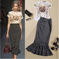 2014 Runway Dress Women's High Quality Dresses Trend Runway Short Sleeve White Print Tops + Black Dot Mid-Calf Mermaid Dress