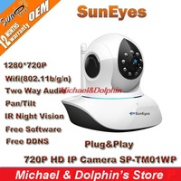 10pcs/lot SunEyes P2P Plug and Play 720P HD Wireless IP Camera with SD Card Slot Whosales SP-TM01WP Fast EMS Shipping