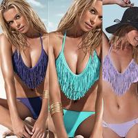 3 colors new 2014 female sexy halter tassel bikinis set solid bikinis women swimming costume large plus size swimwear