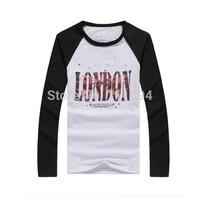 2014 spring men's clothing fashion slim raglan sleeve color block decoration o-neck long-sleeve T-shirt LONDON four colors