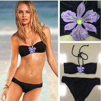 brand  push up bikini set rhinestone diamond black 3084 women swimsuit bandage swimwear for bathing swim suit beach wear