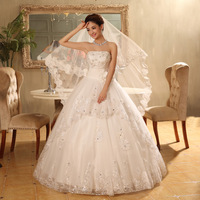Free shipping 100% New Grid Yarn Sleeveless Sweetheart Ball Gown Wedding Dresses Wholesale and Retail(Size:2-4-6-8-10-12-14-16)