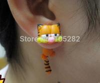 Mini order $25 women's DIY Polymer clay Earrings Jewelry ladies girl'cartoon Garfield red 925 silver Sterling earring Xmas gift