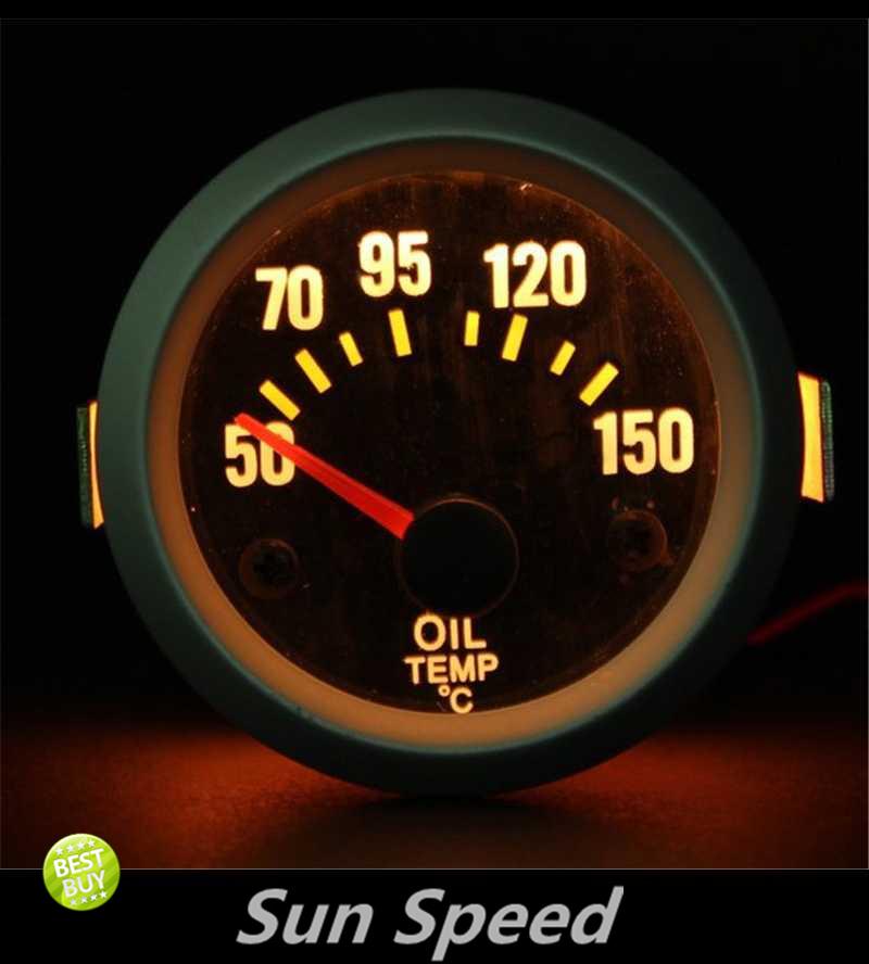 """Sun velocidade grátis frete 2 """" 52 mm Oil Temp elétrica medidor de temperatura Celsius branco Carbo * Fiber Face com Sensor(China (Mainland))"""