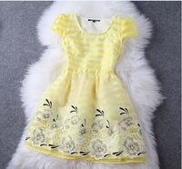 European and American 2014 Fashion High Street Women Summer One-piece Dress Embroidery Organza Cute Elegant Mini Dresses Vestido