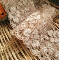 Wholesale lot High quality Elastic stretch champagne flower Lace Trim Sewing Doll DIY 6cm 2-3/4inch