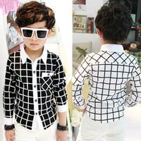 2015 hot boys shirts kids new white black plaid patchwork long sleeve casual cotton shirts 4-10 years 1pcs Free shipping