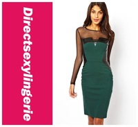 New 2014 Womens Summer Green Midi Dress with PU and Mesh Inserts Party Dress LC6280 Free Shipping Fast Delivery