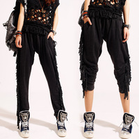 Fashion woman 2014 summer tassel loose plus size casual pants trousers female harem pants -4