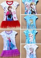 Frozen Dress Elsa Frozen Princess Girls  New 2014 Cartoon Print Girls Casual Dressess  Clothing 6 colors DHL free shipping