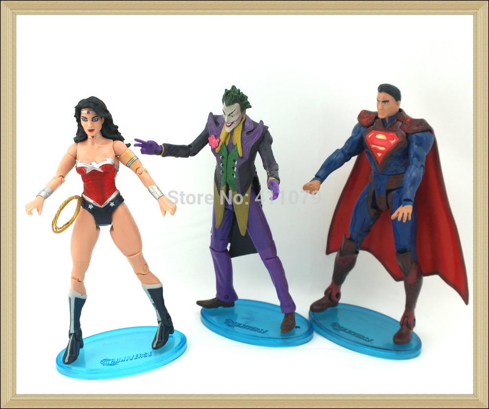 """Pcs 3 héroes para superman wonder woman joker 16cm 6.4"""" pvc elhombredejuguetes nuevo regalo de juguetes de los niños de todo el festival de regalo( ty44)"""
