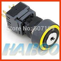 dia.16mm waterproof IP65 3 position 3NO+3NC key lock switch
