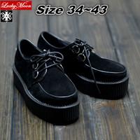 5cm Heel 2014 Men And Women Unisex Shoes Black Flock Harajuku Creepers Women Platform Goth Punk Street Shoes EUR 35-43