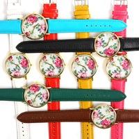 2014 new Vintage Rose Flower Retro Candy Color Floral PU Leather Women Dress Quartz Wrist Watches Gift L05579