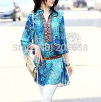 Ethnic classic stand collar chiffon shirt dress slim print vintage dress free shipping