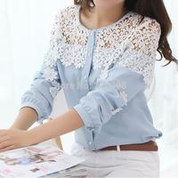 DA 2014 Hot Spring New Korean Long sleeve Hollow out Crochet lace Patchwork Chiffon shirt Blouse Lace shirt Women  S/M/L 9121