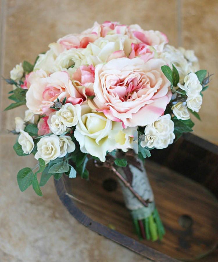 2015 Fashion Wedding Flowers Bridal Bouquets White Pink Sets Vintage