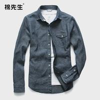 2014 spring linen shirt slim male fluid long-sleeve shirt hemp shirt male