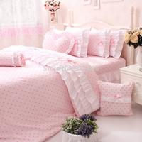 2014 New Korean Ruffle Bedding Sets, Cute Kids Character Duvet Cover Bedding Set, Romantic Pink Polka Dot Bedding Sets