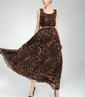 Fashion star style leopard print oversized chiffon ruffle one-piece dress beach dress suspender skirt evening dress women's