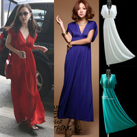 Free Shipping Fashion bohemia red V-neck solid color viscose one-piece dress ultra long dress batwing sleeve dress beach dress