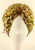 Elegant Design Vintage Yellow Leopard Pattern Headbands National Style Flower Pattern Hairbands Bandanas dual purpose turban