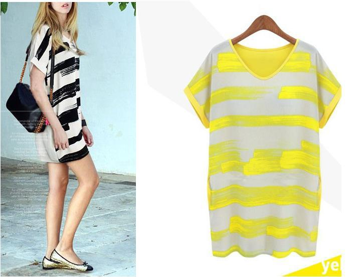 AliExpress.com Product - XXXXL Neon Yellow Rose Striped Loose Big Size women Tee Shirts Blusas 2014 Summer Spring Casual Tshirts Tops