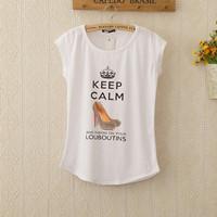 New Keep Calm Printed Tees Tops Women's T-shirt Round Collar Summer Big Size women T Shirt