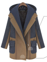 2014 New Fashion Winter The New Women'S Winter Warm Thick Loose Hooded Woolen Coat And Long Sections Woolen Coat WBZ0004