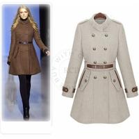 Woolen Double Breasted Solid Standard Coat Full Sleeve Mandarin Collar with Pocket Adjusted Waist Fashion Warm Coat nz116
