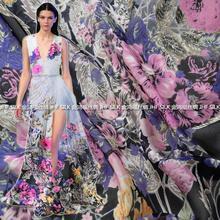 1 metro/lote 135 CM de alta qualidade 100% de amoreira seda pura Chiffon impresso Material tecido têxtil para as mulheres vestido de lenço de 5.5 M/M(China (Mainland))