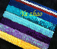 "1"" Sequin Elastic Headbands,Fashion Glitter Elastic Headbands For Girlds, Women 70pcs/lot, mixed 14color, free shipping"