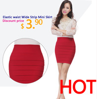 Free shipping 2014 New Fashion Women's Skater Girl's Candy Elastic High Waist short Skater Mini Skirt 11 Colors High quality