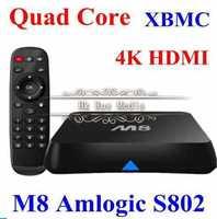 Android TV Box Amlogic S802 M8 Quad Core 2G/8G Mali450 GPU 4K HDMI XBMC Bluetooth 2.4G/5G Dual WiFi DOLBY HD Mini PC