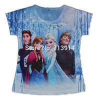 New arrival hot selling kids cartoon Frozen princess girls 3d short sleeve t- shirt,girl's tees tshirts bebe clothes girls tops
