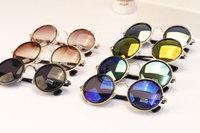 5201 Men and Women's Retro Round Sunglasses Colorful Pieces of Metal Sunglasses Wholesale Yurt Sunglasses  16pcs/lot