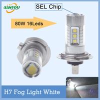 Hotest 1 Pair DC12-24v SEL-Chip H7 80W led bulb h7 light headlight 16Leds for all cars Bmw Cruze Audi Ford