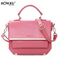 Howru 2014 candy color solid color handbag one shoulder cross-body women's handbag