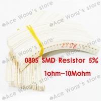 Free Shipping!!! 0805 SMD Resistors 1ohm-10M ohm 5% ,1/8W,50valuesX50pcs=2500pcs, 0805 SMD Resistors Assorted Kit, Sample bag