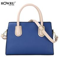 Howru 2014 spring and summer fashionable casual color block one shoulder handbag cross-body women's handbag