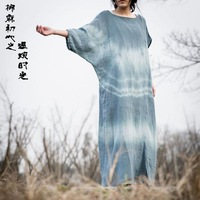Free Shipping Teal fluid tie-dyeing irregular one-piece dress robe full dress
