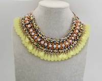 New Arrival 2014 Hot Sale Multi Layer Neon Ribbon Wrapped BIB Woven Necklace Acrylic Statement Necklaces  free shipping MZN073