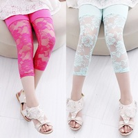 Free Shipping 2014 New Girls Summer Rose Lace Leggings Kids Pants Wholesale 4pieces/lot